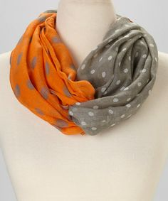Look what I found on #zulily! Tangerine & Gray Dot Infinity Scarf by Occasionally Made #zulilyfinds