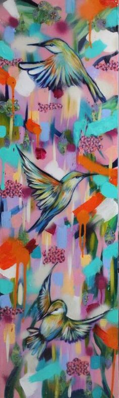 """""""Kyoto Garden"""" by Sian Storey. Acrylic painting on Canvas, Subject: Animals and birds, Expressive and gestural style, One of a kind artwork, Signed on the back, This artwork is sold unframed, Size: 30 x 100 x 5 cm (unframed), 11.81 x 39.37 x 1.97 in (unframed), Materials: Acrylic, Japanese paper, spray paint and resin"""