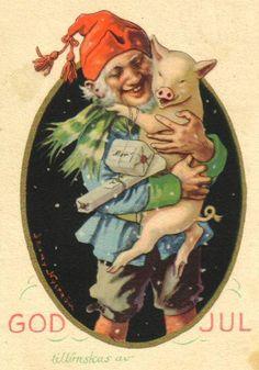 Tomtenisse och julgris! Någon som känner till konstnär och årtal?