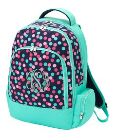 Look what I found on #zulily! Turquoise & Pink Dots Monogram Backpack by Princess Linens #zulilyfinds