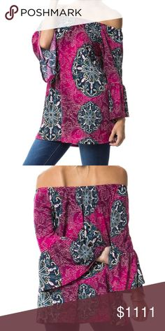 Coming Soon-New-Medallion Print off Shoulder Tunic Magenta/Teal Tunic Top is 92% polyester 8% spandex. This top can be worn off shoulder or on. Measurements to follow Tops Tunics