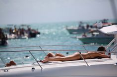 Sunbathing. Yacht. Summer