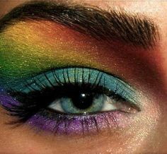 Peacock/rainbow eyes -might be fun for Halloween or a crazy party