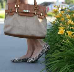Leopard flats and colorblocked bag