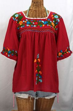 "Not sure I can let this one go -- Could these colors be any more beautiful together?  The ""La Marina"" Embroidered Mexican Peasant Blouse in Red with Siren's Signature Fiesta Embroidery.  #bohemian #hippie #summer #siren #fashion #vintage #boho #cincodemayo"