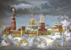 Gold domes of Russia - Fedoskino lacquer boxes