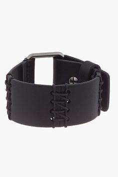 LANVIN Black Stitched Leather Bracelet