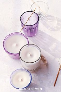 Smell the sweet scent of lavender whenever you light these delightful DIY candles. All you need are a few ingredients, including a jar, wax, a scent, and our directions. #marthastewart #diydecor #diyprojects #diyideas #handmadegiftideas Homemade Candles, Votive Candles, Scented Candles, Lavender Candles, Citronella Candles, Beeswax Candles, Candle Wax, Diy Beauty Projects, Diy Inspiration