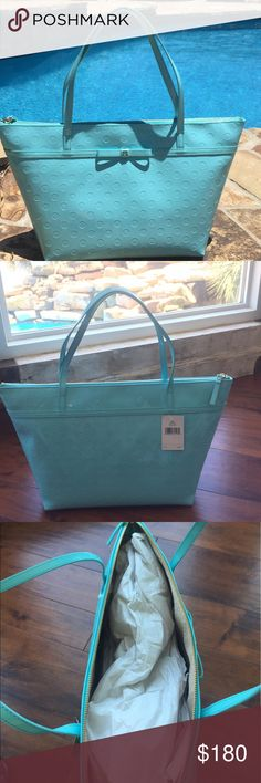 """NWT Kate Spade Purse Absolutely stunning new with tags Kate Spade purse. It is 18 1/2"""" wide and 11"""" tall. Gorgeous color with gold accents. Will not be available for long!! kate spade Bags Shoulder Bags"""