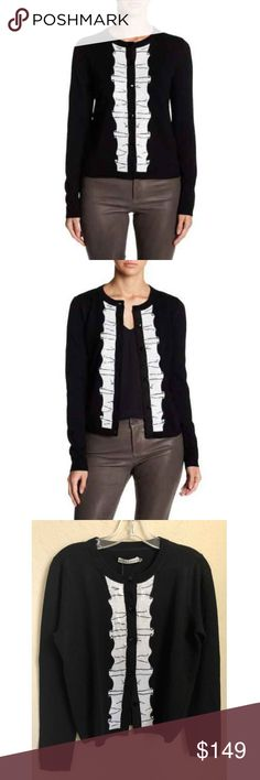 Alice + Olivia Womens Tuxedo Style Cardigan Size L Alice + Olivia Womens  Avi Wool Sequin 50db7b21a