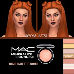 """simshallow: """" MAC Mineralize SkinFinish Highlighter - For Females; - 7 colors - Teen/Young Adult/Adult/Elder; - Custom thumbnail; - Smooth texture. Download at our website! - Lyla """""""
