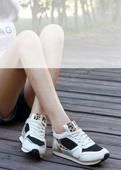 Women's #beige leopard pattern leather lace up sport shoe #sneakers, leather upper, mesh lining.