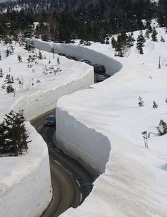 The highway divide after the plow. Norway