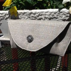 Small Evening Hand Clutch Silver Magnetic Closure by TogetherThreads on Etsy