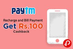Paytm is offering Rs.100 Cashback on Recharge and Bill Payment of Rs.500 or more. Valid till 15th February. Promocode can be used 5 times per user. Valid for all users. Paytm Coupon Code – FLASH500  http://www.paisebachaoindia.com/recharge-and-bill-payment-get-rs-100-cashback-paytm/