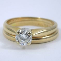 14k Yellow Gold Wedding Set with a 0.40 Carat Diamond Solitaire Engagement Ring. - $1,000