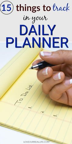 Are you wondering 'what can I track in a planner'? I have a list of 15 things you can add to your daily planner to help you stay more organized with your busy life! #dailyplanner #tracker #listsforplanner