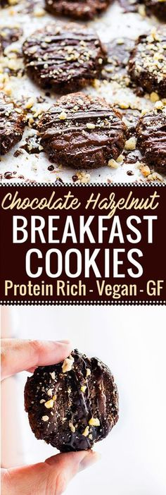 Vegan Chocolate Hazelnut Breakfast Protein Cookies made with just a few simple Ingredients! These protein cookies are packed with real food nourishment! Hazelnuts, banana, plant protein, and dark chocolate. Vegan, flourless, and tastes like dessert. A cho
