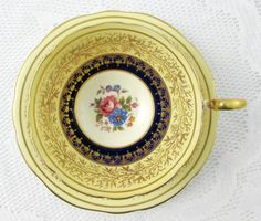 Aynsley Tea Cup and Saucer Cobalt Blue with Gold Decor, Antique Tea Cup, Bone China