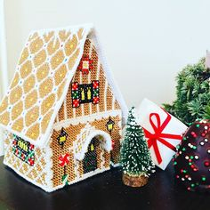 "Alex from Vienna on Instagram: ""Wish you all a merry merry christmas 🎄🎁🎄🎁 Enjoy your Xmas day!! My handmade embroidered gingerbreadhouse has been finished in last minute…"" Merry Christmas, Xmas, Christmas Ornaments, Vienna, Unicorn, Easter, Tapestry, Seasons, Embroidery"