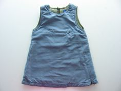 Robe hiver sans manche Bout chou 12 mois bleue doublée coton kaki