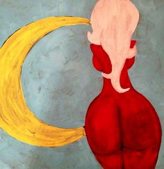 Pin-Up Girl Colorful Painting - Voluptuous Blonde in Red Dress Acrylic Wall Art - The Moon and Me