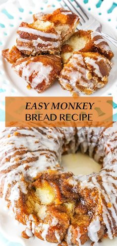 This EASY Monkey Bread recipe is made with balls of refrigerated cookie dough rolled in cinnamon-sugar and coated with brown sugar sauce. Stick them all in a pan, bake and drizzle with a quick vanilla icing. Totally irresistible! Pillsbury Monkey Bread, Homemade Monkey Bread, Cinnamon Roll Monkey Bread, Easy Bread Recipes, Baking Recipes, Great Recipes, Savory Breakfast, Breakfast Recipes, Dessert Recipes