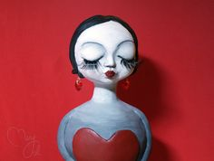 OOAK handmade paper clay sculpture - valentine love girl holding a heart in her hands, and a kiss on her lips