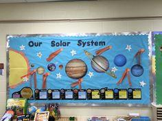 RHMS Montessori Bulletin Board #rhms #montessori #school #bulletinboard #space #solar #education #preschool #art #artwork #children #kids #ideas #classroom #teacher #student #teaching #students #solarsystem #planets #sun #stars