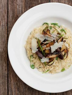Orzo Cooked Risotto-Style with Shiitakes and Garlic Scapes