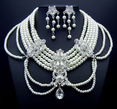 WJN101 Cystal Classic Pendant 7 Stds Faux Pearl Necklace P. Earrings Bridal Prom