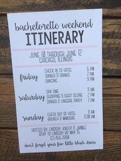 Bachelorette Weekend Itinerary by chasingprints on Etsy