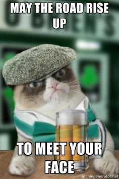 Grumpy Irish Cat - May the road rise up to meet your face. | St. Patrick's Day