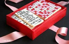 Valentines Crossword Cookies & Cake Gift Box ~ http://iambaker.net