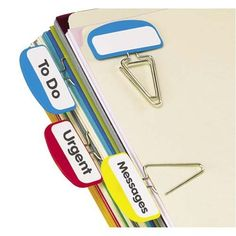 Pendaflex Pilesmart Label Clips with Write On Tabs, Primary Assorted Colors, 12 per Pack (18651) Pendaflex