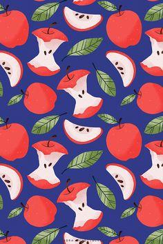 apple, Apfel, apple slices, fruits pattern, fruit, fruit slices, surface Pattern Design, wallpaper, wrapping paper, pattern, seamless pattern, creative #surfacepatterndesign #patterndesign #seamlesspattern Art And Illustration, Pattern Illustration, Floral Illustrations, Vinyl Wallpaper, Pattern Wallpaper, Pixel Art Objet, Adobe Illustrator, Doodle Background, Tips And Tricks