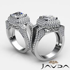 Princess Diamond Engagement Halo Pre-Set Ring EGL F SI1 14k White Gold 2.75 ct #Javda #SolitairewithAccents