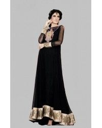 Black Crinkle Chiffon Anarkali Dress Eid Collection Eid Collection 2015 Embroidered Salwar Suits Festive Eid Collection by GulAhmed Girls Party Dresses Indian casual dresses 2014-2015