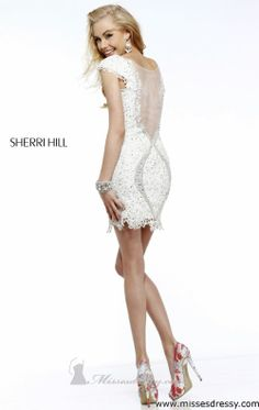 Love this open backed cocktail dress! #ivory #blacktie #wedding #lace #gorgeous Sherri Hill 9803