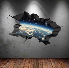Items similar to Wall Decal Earth Moon Space Planet Galaxy Cracked Wall Sticker Stars Mural Decal Graphic Wall Art Boys Bedroom Wall Sticker on Etsy Childrens Wall Decals, 3d Wall Decals, Framed Wall Art, Wall Stickers Stars, Removable Wall Stickers, Break Wall, Cracked Wall, Earth Design, Space Planets