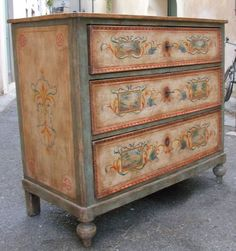 Hand painted chest of drawers in the florentine style with landscapes