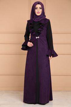 ** YENİ ÜRÜN ** Fırfırlı Süet Detay Elbise Mor Ürün kodu: RZ6305 --> 149.90 TL