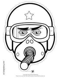 This color-in fighter pilot mask is the perfect way to keep a young man busy on a rainy afternoon. Color in the mask's helmet, goggles, and breathing apparatus, then attach the mask with string and get ready to pretend to fly a plane! Free to download and print