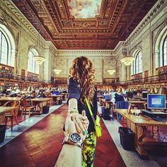 Murad Osmann and Nataly Zakharova, New York Public Library Nyc Public Library, Murad Osmann, Travel Around The World, Around The Worlds, Internet, Girls Rules, Photo Series, Travel Couple, Follow Me