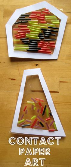 Ever added drinking straws to contact paper? My kids love it because they can stick some art, change it, make some more --GREAT IDEA! Papel Contact, Contact Paper, Art For Kids, Crafts For Kids, Arts And Crafts, Ecole Art, Toddler Art, Preschool Crafts, Preschool Ideas