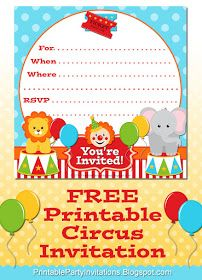 Free Printable Party Invitations: Printable Circus Design