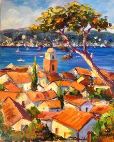 La baie de Saint Tropez en juillet... - Painting,  50x61 cm ©2013 par Dam Domido -  Peinture, Huile