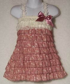 Lace Petti Dress / Dusty Rose & Ivory / Flower by KarriesBoutique, $26.95