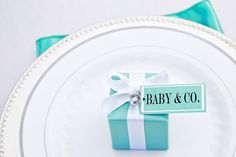 "For a Tiffany inspired baby shower ""Baby & Co"" favor tags"
