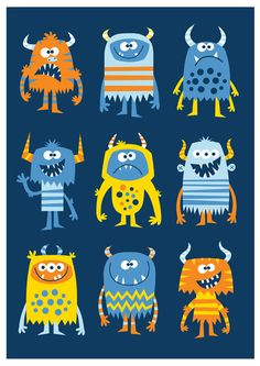 creatures multi Nursery art boy boys monster print monster art by BubbleGumYears Monster Illustration, Illustration Art, Art Picasso, Doodles, Childrens Wall Art, Monster Art, Art For Kids, Art Children, Children Pictures